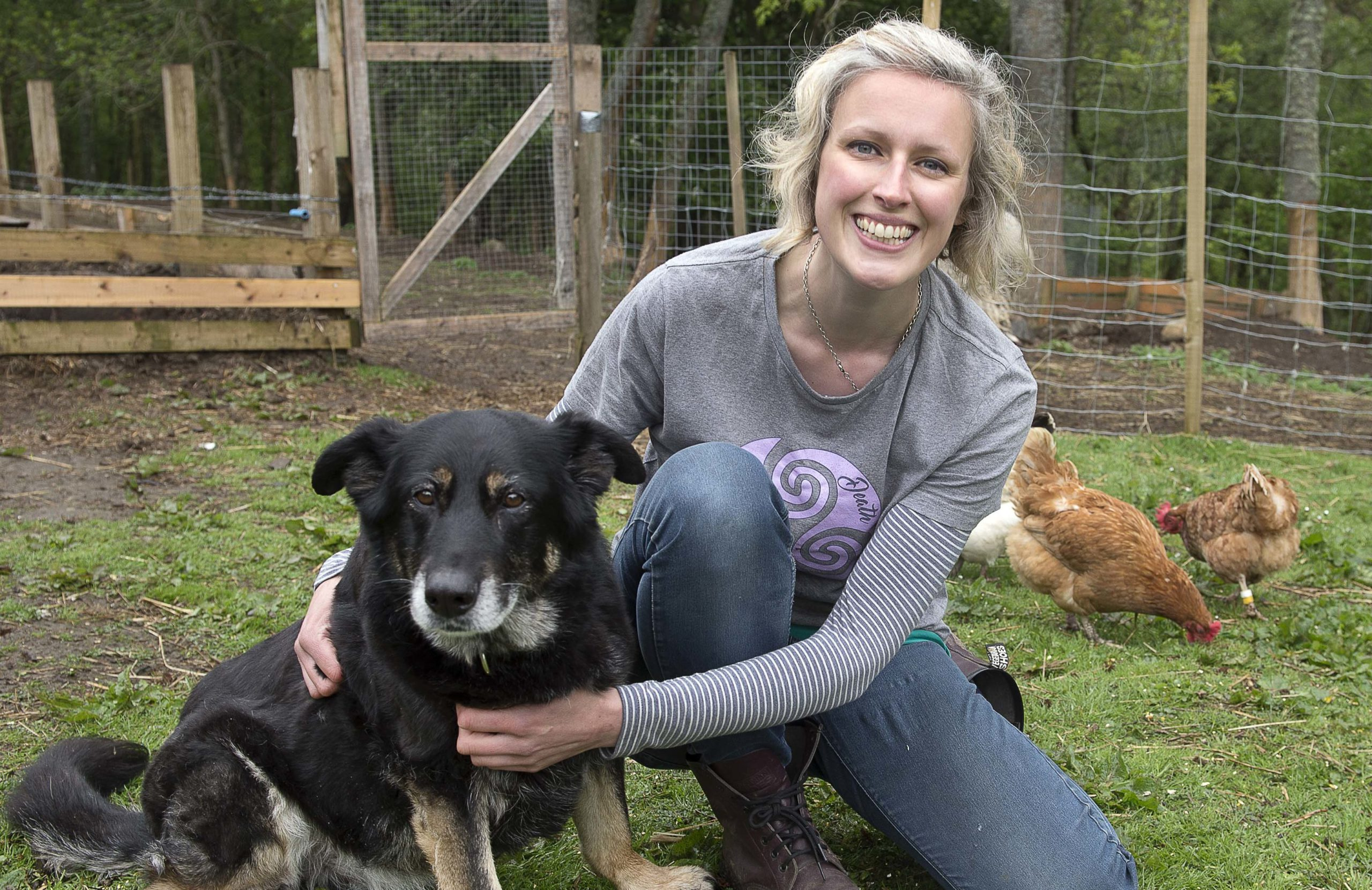 Maggie Flemming Animal Hospice.  Owner Alexis Flemming with Beryl  she takes in dogs and animals that have been abandoned and have terminal illness which means they could be put down or die alone in shelters.   Pic Trevor Martin